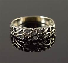 14k 4g scroll design half heart wedding band white gold ring size 9 25 property room