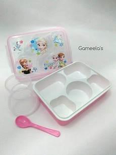jual kotak bekal tempat makan anak aneka karakter kartun boks bento sekat lima silikon sealer
