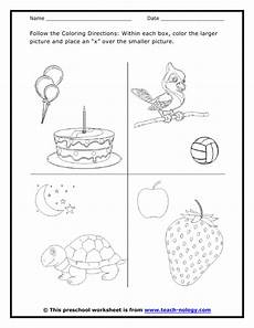 following directions worksheets kindergarten 11712 large or small