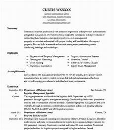 logistics management specialist resume sle livecareer