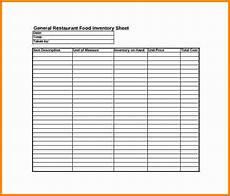 restaurant inventory sheet template business