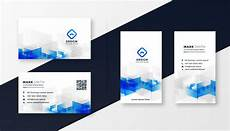 business card template blue abstract white and blue business card template set vector
