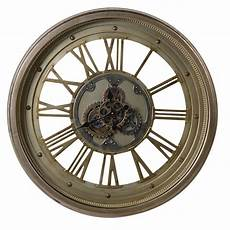 large wooden gold cogs wall clock mulberry moon