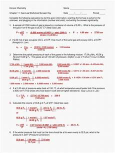ideal gas law worksheet answer key