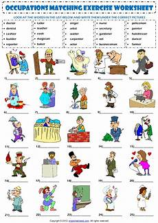 occupations professions vocabulary matching exercise worksheet