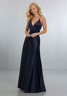 sexy satin bridesmaids dress with deep v neckline and strappy back style 21573 morilee