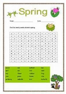 esl kids worksheets spring wordsearch