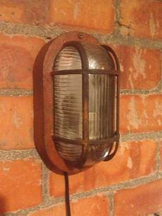 industrial vintage bulkhead wall light rusty weathered
