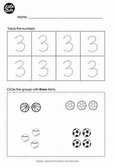 addition worksheets pre k 9010 free number 3 worksheet for pre k level practice to trace and count one to one corresponde