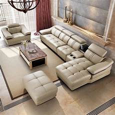 leather sofa living room corner sofa set 6 pcs in living