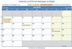 Kalender 2018 Juli - belgie kalender voor afdrukken juli 2018
