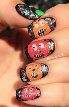 ehmkay nails pumpkin totem nail art