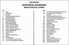 1988 Chevy Monte Carlo Electrical Diagnosis Manual Wiring