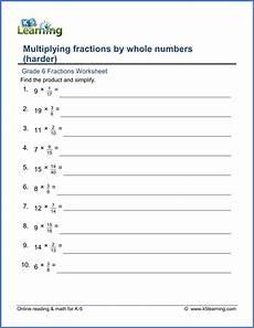 multiplication fraction worksheets for grade 6 4257 grade 6 math worksheet fractions multiplying fractions by whole numbers harder version k5