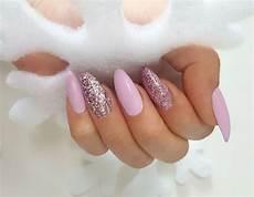 nehty almond almond pink glitter matte nails nehty almond