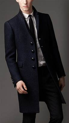 burberry felted wool tailored top coat in blue for lyst