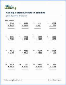 worksheets on 4 digit addition 9173 grade 4 math worksheet addition adding 4 digit numbers in columns k5 learning