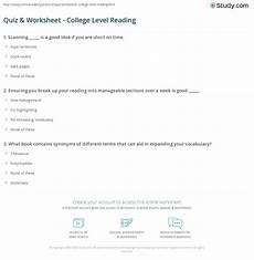 worksheets college level 18228 quiz worksheet college level reading study