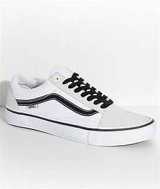 vans skool pro white white black skate shoes