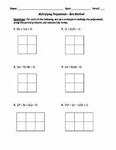 multiplication worksheets box method 4331 multiplying polynomials box method 1 by brandi earl tpt