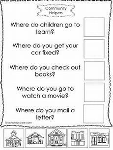 4 community helpers answer the question worksheets preschool kindergarten