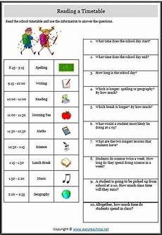 free worksheets to practise reading timetables math reading comprehension worksheets