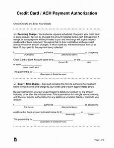 free credit card ach authorization forms word pdf