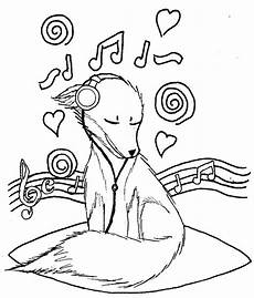 fox listening to music coloring play free coloring game online