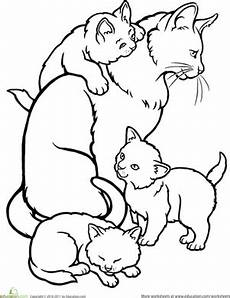 color the cat and kittens worksheet education