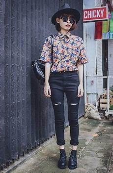 floral cropped button up black skinnies street styles