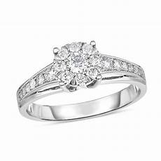 1 2 ct t w diamond frame vintage style engagement ring in 10k white gold engagement rings
