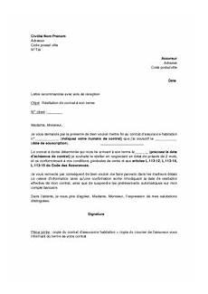 lettre de résiliation contrat d assurance lettre de r 233 siliation de contrat d assurance habitation 224 sa date d 233 ch 233 ance mod 232 le de lettre