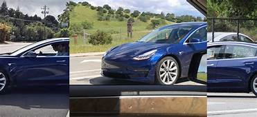 All Leaked Spy Shots Of The Blue Tesla Model 3