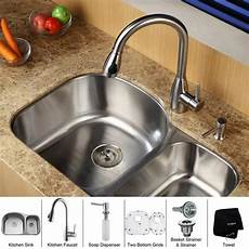 kraus kitchen combo set stainless steel undermount sink