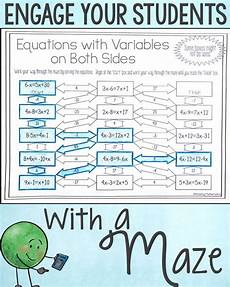 algebra worksheets variables on both sides 8615 solving equations with variables on both sides maze worksheet solving equations 8th grade