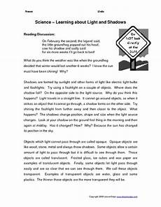 science worksheets light and shadows 12279 science learning about light and shadows worksheet for 3rd 4th grade lesson planet