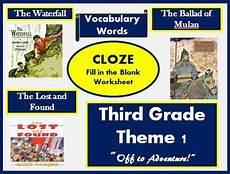 houghton mifflin reading third grade theme 1 cloze worksheets tpt