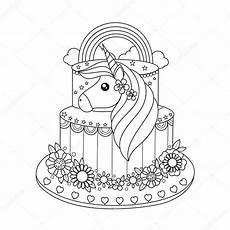Malvorlagen Unicorn Cake Unicorn Cake Coloring Book Vector Illustration