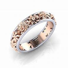 rose gold color hollow flower wedding rings for