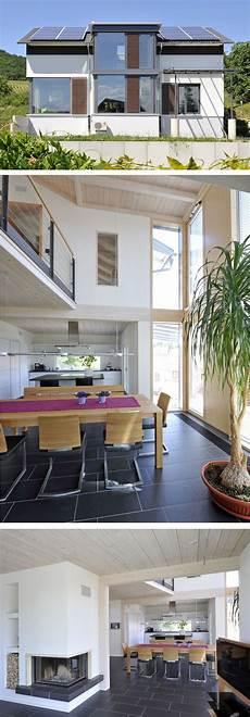 Holzhaus Modern Mit Satteldach Architektur Innen Offen