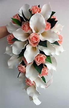 details about wedding bouquet ivory latex foam calla rose teardrop rose