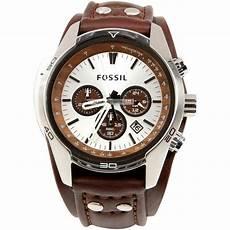 fossil herren armbanduhr uhr sport chronograph leder braun