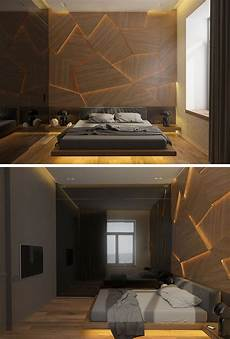 this bedroom has a geometric back lit wood accent wall accent wall bedroom bedroom bed design
