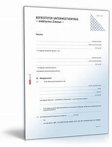 Mietvertrag Zimmer - befristeter untermietvertrag m 246 bliertes zimmer vorlage