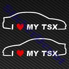 2 i heart my tsx sticker vinyl decal 7 2 quot x2 quot acura love
