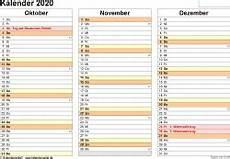 vorlage 5 kalender 2020 f 252 r excel querformat 4 seiten
