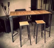 Table Haute De Cuisine Bois Et Metal
