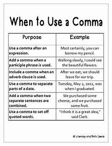 free student journal insert when to use a comma reference chart