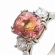 platinum padparadscha sapphire and diamond trilogy ring macrow and son