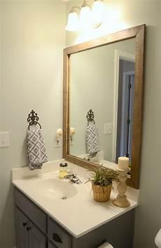 bathroom mirror wood guest bathroom update stained wood framed bathroom mirror